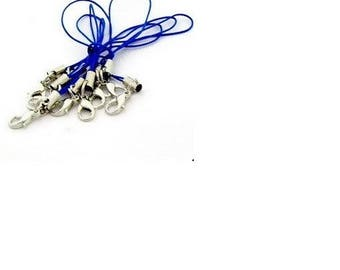 set of 20 blue colored telephone with lobster clasps