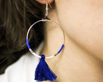 Akita - colorful hoop earrings - cobalt blue tassel - Japanese beads earrings