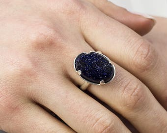 Ring-Despina stone 925 sterling silver and Blue Goldstone