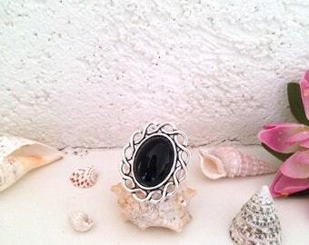 Ring braided pattern, deep black Agate stone adjustable silver metal