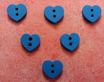 SET of 6 wood buttons: Blue 12mm heart