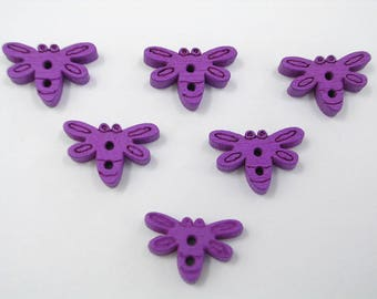 SET of 6 wood buttons: 15mm purple dragonfly