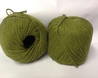 Knitting / 10 balls of matte cotton khaki - made in FRANCE