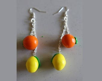 Citrus, lemon, orange earrings