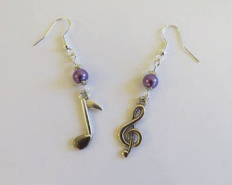 """Earrings 925 Silver earrings """"music"""" - Note music treble clef and purple beads"""