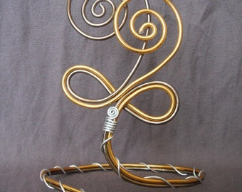 Anklet in gold and Brown aluminum wire