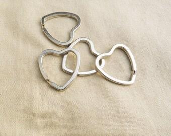 Key heart 31mm - 5 rings worn silver A22231