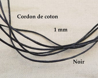 5 M cotton Cordon 1 mm black color