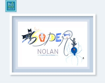 SUPER hero - Picture frame - personalized name gift - decor nursery kids baby