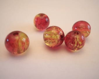 10 red and yellow 10 mm cracked glass beads