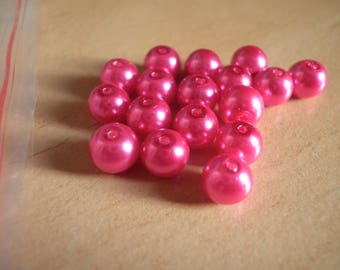 25 6 mm fuchsia glass pearls