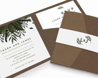 Botanical Pocketfold Wedding Invitation Bundle | Wedding Stationery | Bride to be | Tumblr Wedding | Foiled Invitations | Pocketfold Invites