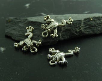 4 silver metal frog charms