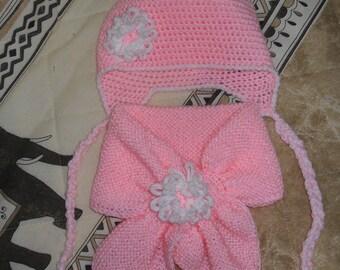 écharpe et bonnet bébé au crochet et tricot