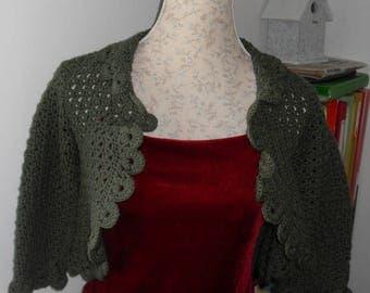 wool Bolero crochet bottle Green
