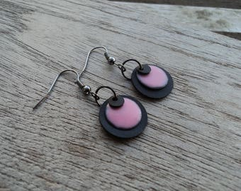 Earrings disc in inner tube recycled and pink sequin