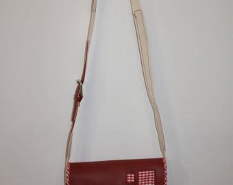 """vicky"" red leather bag and tissue tile and gingham shoulder"