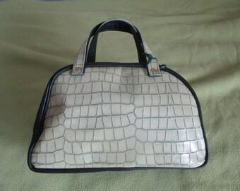 ver dark leather and beige tortoiseshell bowling bag