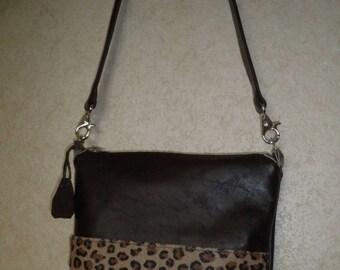 leather wallet dark brown and leopard shoulder strap
