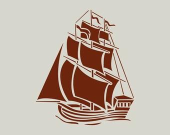 Sailboat. Boat. Boat stencil. (Ref 359) adhesive vinyl stencil