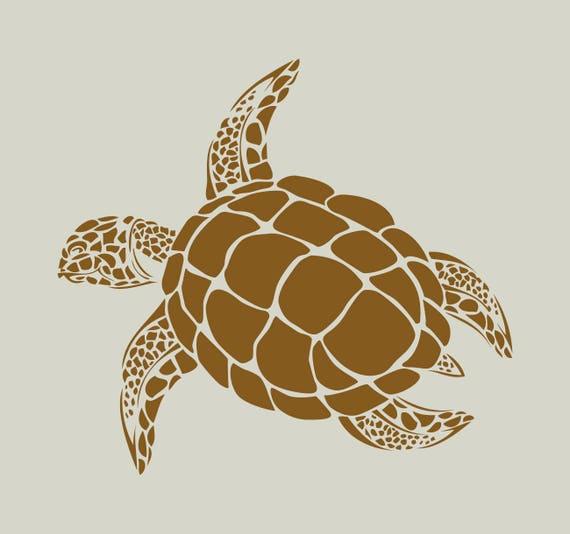 Tortue pochoir tortue dessin tortue pochoir en vinyle - Dessin d une tortue ...