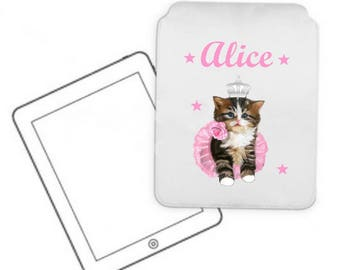 Cover for tablet pc kitten personalized with name