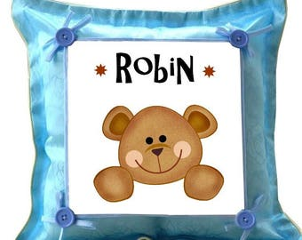 Blue Teddy pillow personalized with name