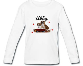 T-shirt sleeves Cavalier king charles girl personalized with name