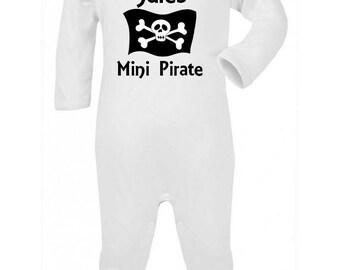 Pajamas baby Mini pirate personalized with name