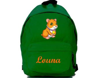 Backpack green pig from India personalized with name