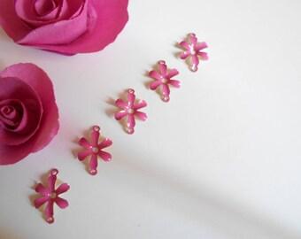 x 5 connectors flower effect glazed pink 12 mm
