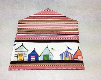 """Beach cabins"" print envelope clutch"