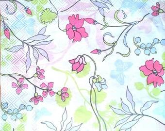 Floral paper napkin