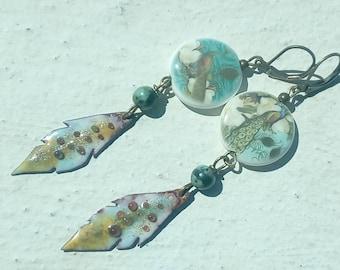 Earrings: Peacocks - glazed porcelain and copper