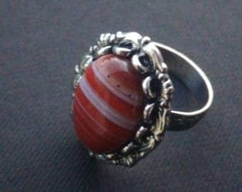 Agate ridged ring