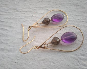 Smoky quartz and Amethyst - gemstones and gold plated earrings