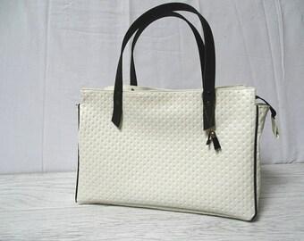 Off white leather handbag
