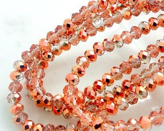 20 electroplates copper colored Crystal beads faceted 6 * 4mm