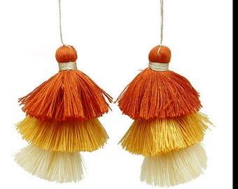 1 Pompom triple cotton yarn, 3 colors 75mm