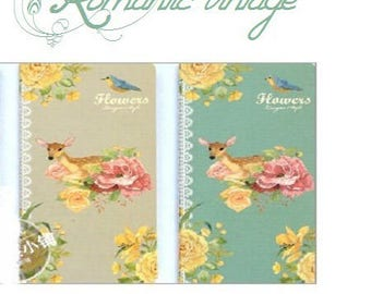 Pretty vintage style notebook model Fawn and roses, 48 pages ivory