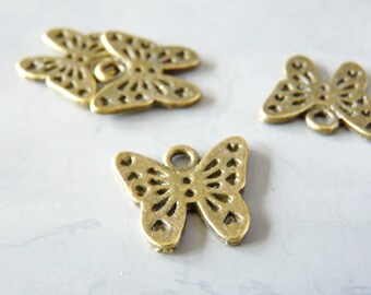 5 charms small Butterfly 13 x 13 mm - color bronze