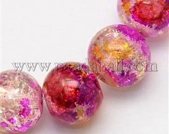 10 beads of Crackle glass threads, colors of orchids 8 mm in diameter