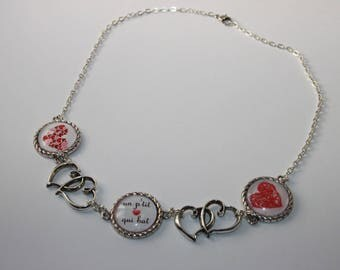 hearts and cabochons on silver plated chain necklace