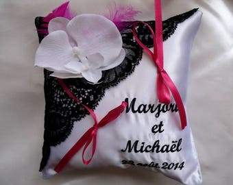 personalized and embroidered with lace ring bearer pillow