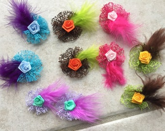 Set of 10 flowers made by hand to customize your creations /scrapbooking/ /barrette/ yearly n 2 pin/bag embellishment