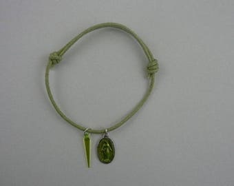 Lime green waxed cotton bracelet with miraculous medal and lime green edge