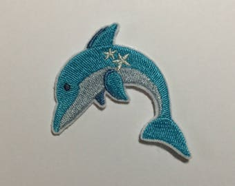 DOLPHIN BLUE FUSIBLE BADGE