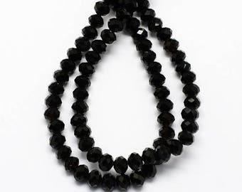 10 pearls 10 mm black faceted glass: PER 0178