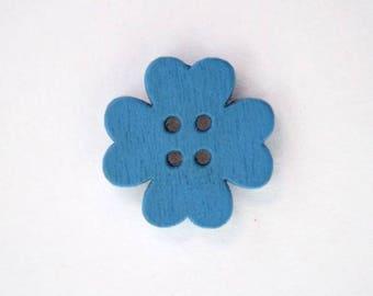 19mm x 10 flower wooden button: Blue - 001867