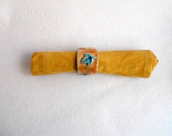 Ceramic napkin ring raku - turquoise leaves - Orange - turquoise Interior